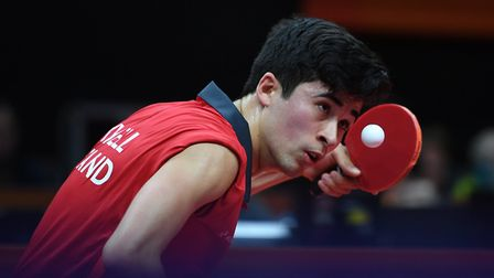 England's Kim Daybell plays a shot during the men's TT6-10 singles gold medal final table tennis mat