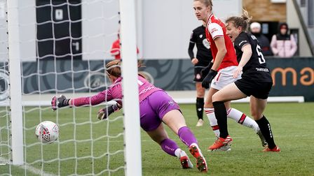 Arsenal's Vivianne Miedema scores her side's fifth goal against Bristol City