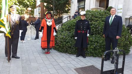 The flag raising ceremony outside Islington Town Hall for Armed Forces Week 2020. Picture: Esther Mc