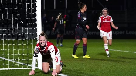 Arsenal Women's Kim Little celebrates scoring her side's first goal of the game during the Continent