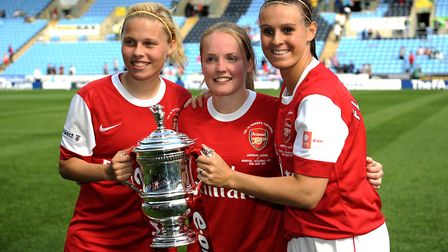 Arsenal's Gilly Flaherty (left), Kim Little (centre) and Julie Fleeting celebrate with the Women's F