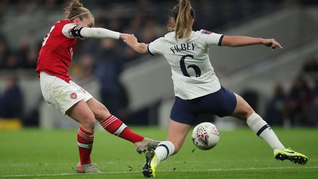 Arsenal's Kim Little scores her side's first goal at the Tottenham Hotspur Stadium (pic Zac Goodwin/