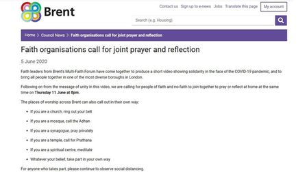 Call to prayer on Brent Council's website. Picture: BK Times