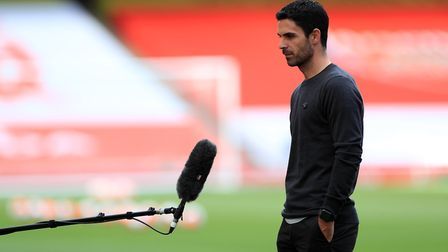 Arsenal manager Mikel Arteta is interviewed before the Premier League match against Norwich