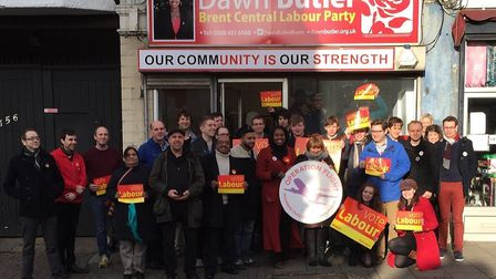 Dawn Butler (red coat) outside her new campaign office in 2015
