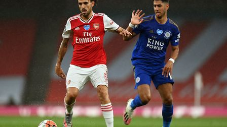 Arsenal's Dani Ceballos (left) and Leicester City's Youri Tielemans (right) during the Premier Leagu