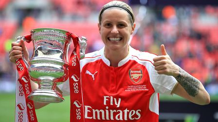 Arsenal's Kelly Smith celebrates after winning the SSE Women's FA Cup