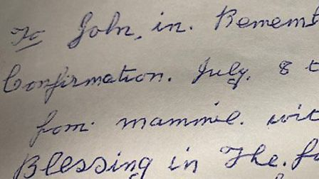 The message John's mother left in his Missal on the day of his confirmation. Picture: Alexandra Hami