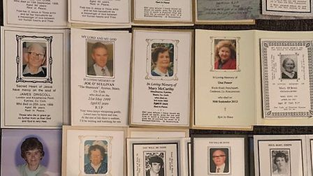 The Missal was filled with memorial cards of relatives and friends who have pased away. Picture: Ale