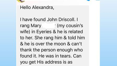News of the missing Missal crossed the Irish sea and John's relatives in Ireland helped Alexandra ge