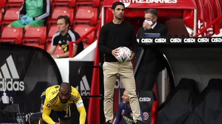 Arsenal manager Mikel Arteta during the FA Cup quarter final match at Bramall Lane, Sheffield.