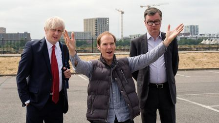 Benedict Cumberbatch as Dominic Cummings (centre) alongside the characters of Boris Johnson and Mich