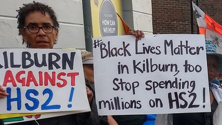Kilburn campaigners join marchers against HS2 who walked from Birmingham to Euston . Picture: Crossr