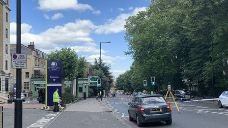 The Pentonville Road scene of a road traffic collision after which a moped rider died on Sunday, Jul