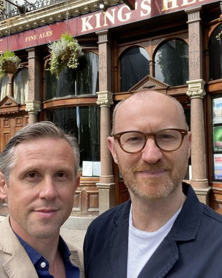 Actor couple Ian Hallard and Mark Gatiss outside the King's Head theatre in Islington after they don