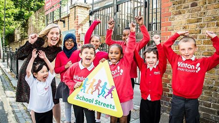 Pupils at Winton Primary School celebrate Islington's 10th School Street, which was launched in June