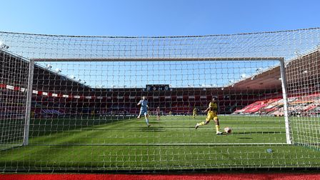 Arsenal's Eddie Nketiah scores his side's first goal of the game with a tap in at St Mary's
