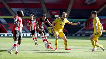Southampton's Danny Ings has a shot on goal during the Premier League match at St Mary's