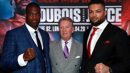 Daniel Dubois (left), Frank Warren (centre) and Joe Joyce during the press conference at BT Tower, L