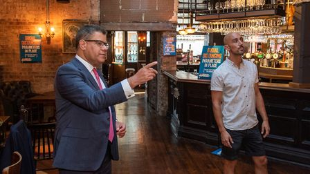 Secretary of State for Business, Energy and Industrial Strategy Alok Sharma visits The Alpaca Pub, E
