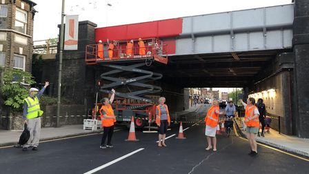 Wood Street Walls did the high level painting of the new sign sign underneath Cricklewood bridge. Pi