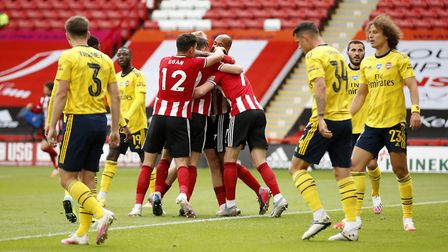 Sheffield United celebrate prior to VAR disallowing a goal during the FA Cup quarter final match at
