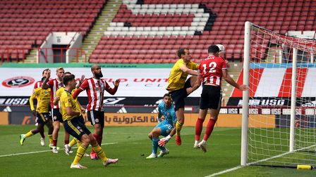 Sheffield United's John Egan has his goal disallowed by VAR during the FA Cup quarter final match at