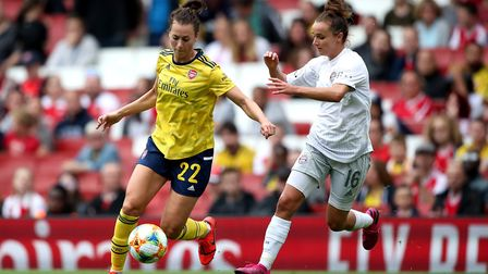 Arsenal's Viktoria Schnaderbeck (left) and Bayern Munich's Lina Magull (right) battle for the ball
