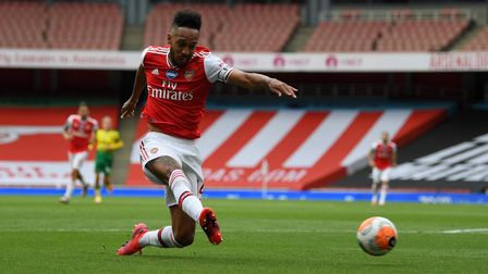 Arsenal's Pierre-Emerick Aubameyang scores his side's first goal
