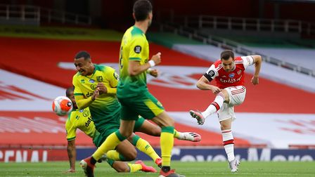 Arsenal's Cedric Soares scores his side's fourth goal against Norwich just minutes into his debut