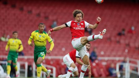 Arsenal's David Luiz clears the ball during the Premier League match at the Emirates Stadium