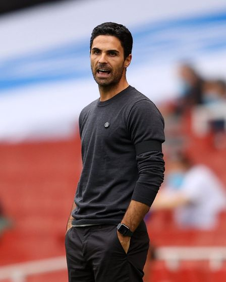 Arsenal manager Mikel Arteta during the Premier League match at the Emirates Stadium