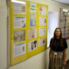 Shalina Patel, infront of a history display. Picture: Claremont High School