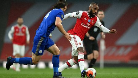 Arsenal's Alexandre Lacazette on the ball during the Premier League match at the Emirates Stadium