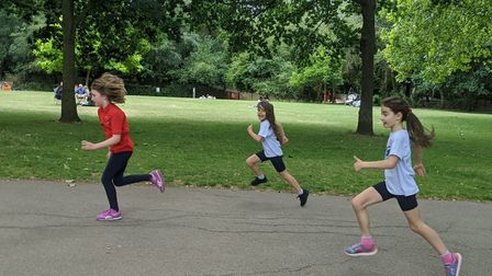 Socially-distant runners in Arundel Square. Picture: Run Kids Run