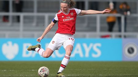 Louise Quinn of Arsenal during Arsenal Women vs Lewes FC Women, Women's FA Cup Football at Meadow Pa