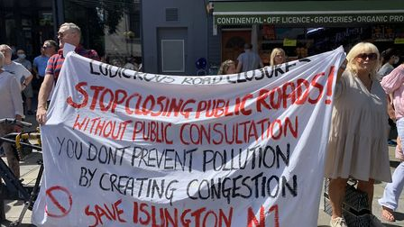 Protesters against traffic measures blocked off Islington's Upper Street. Picture: André Langlois