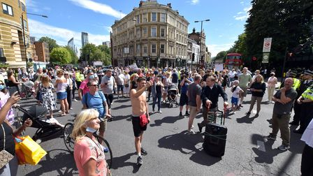 Islington streets protesters leave the Town Hall forecourt and march along Upper Street to Angel on
