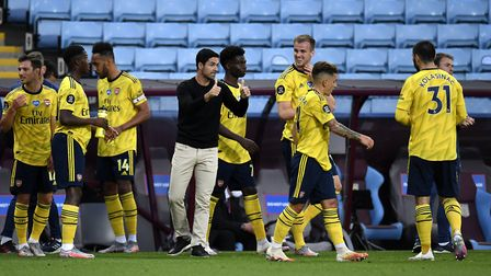 Arsenal manager Mikel Arteta gestures on the touchline during the Premier League match at Villa Park