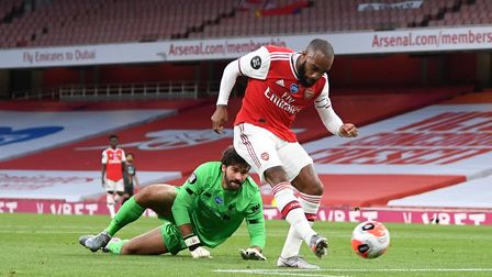 Arsenal's Alexandre Lacazette scores his side's first goal of the game