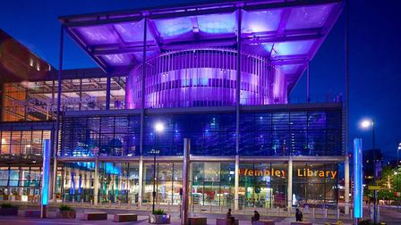Brent Civic Centre was lit purple on June 2 to support Black Lives Matter. Picture: Brent Council