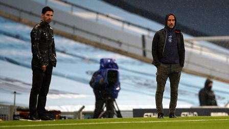Manchester City manager Pep Guardiola and Arsenal manager Mikel Arteta during the Premier League mat