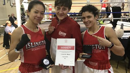 Islington's Amy Pu, Charlotte Briant and Sunni Torgman at the national finals (pic Reggie Hagland)