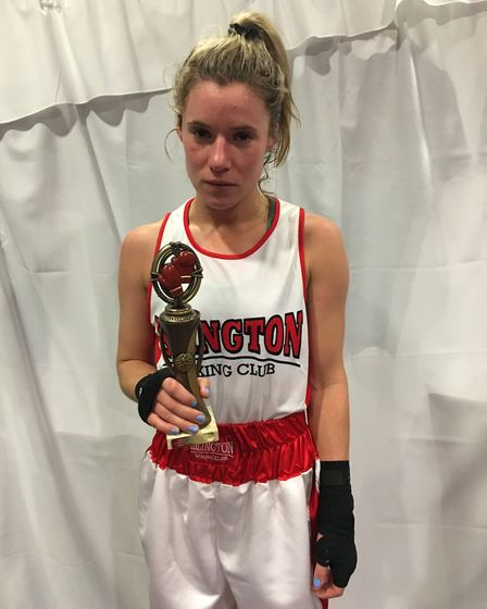 Islington BC's Amy Andrew with her winner's trophy in Jersey