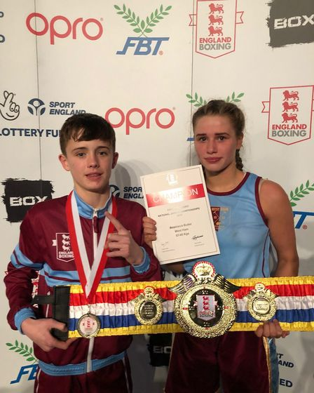 West Ham's Frankie Wood and Anastacia Butler celebrate their national titles