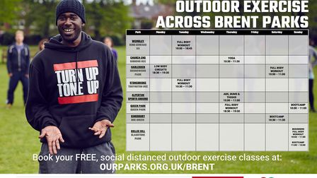 Exercise timetable in Brent parks. Picture: Our Parks