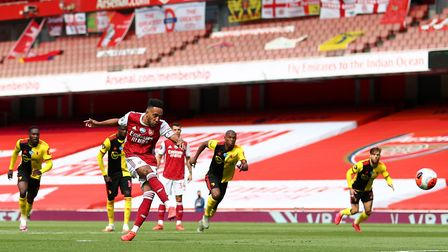 Arsenal's Pierre-Emerick Aubameyang scores his side's first goal of the game from the penalty spot