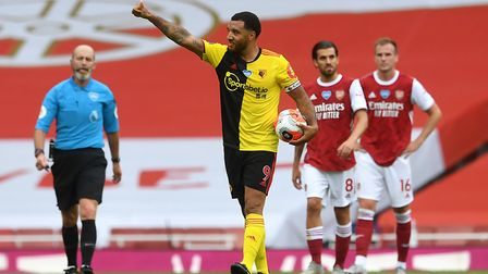 Watford's Troy Deeney celebrates scoring his side's first goal of the game from the penalty spot