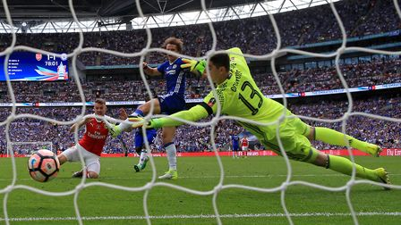 Arsenal's Aaron Ramsey scores his side's winnign goal in the FA Cup final (pic Nick Potts/PA)