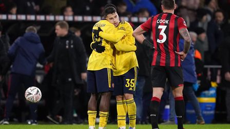 Arsenal's Gabriel Martinelli (right) and Eddie Nketiah react after the FA Cup fourth round match at